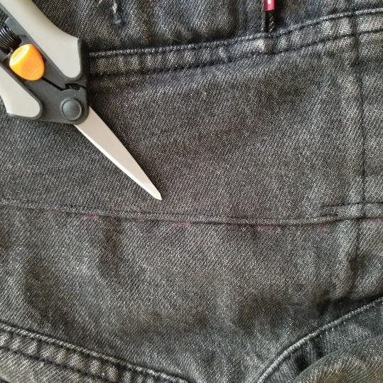 Front yoke seam after topstitching.